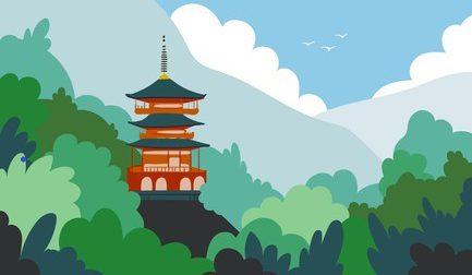 japan-landscape-flat-cartoon-illustration-260nw-1931657777